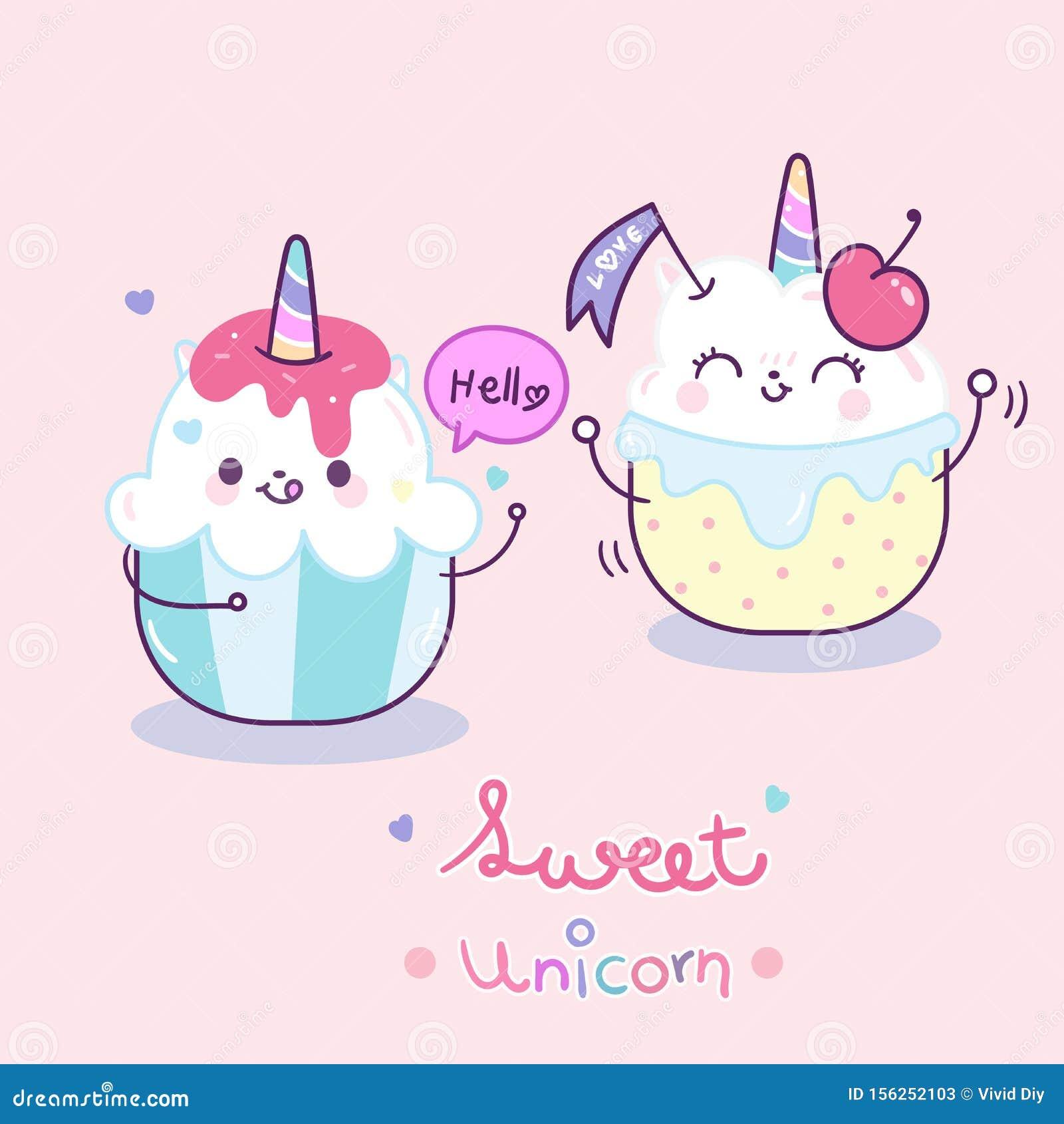 Cute Unicorn vector couple cake cartoon, Happy birthday party and Valentine day Anniversary