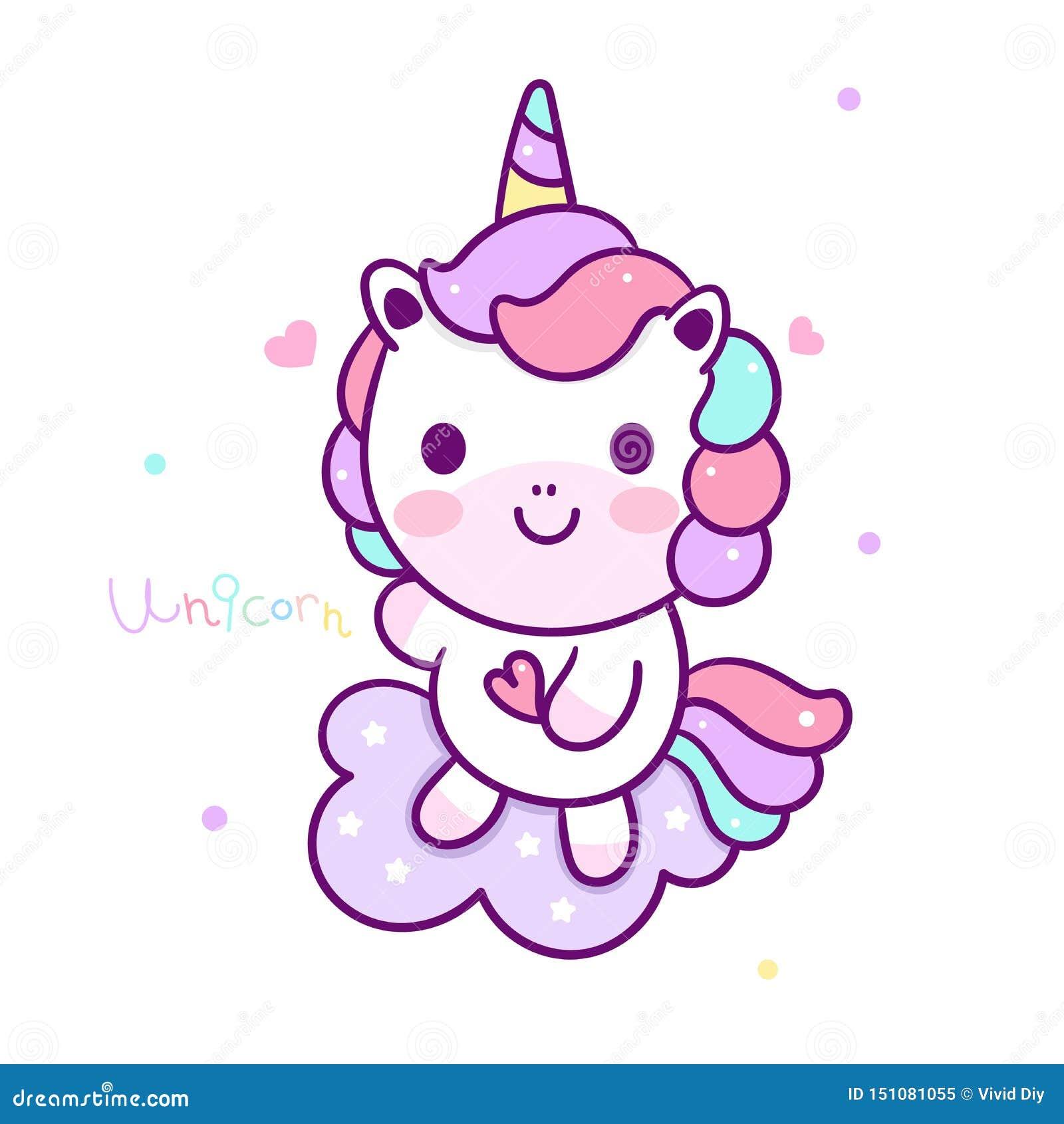 Cute Unicorn Vector Pony Cartoon On Cloud Pastel Color