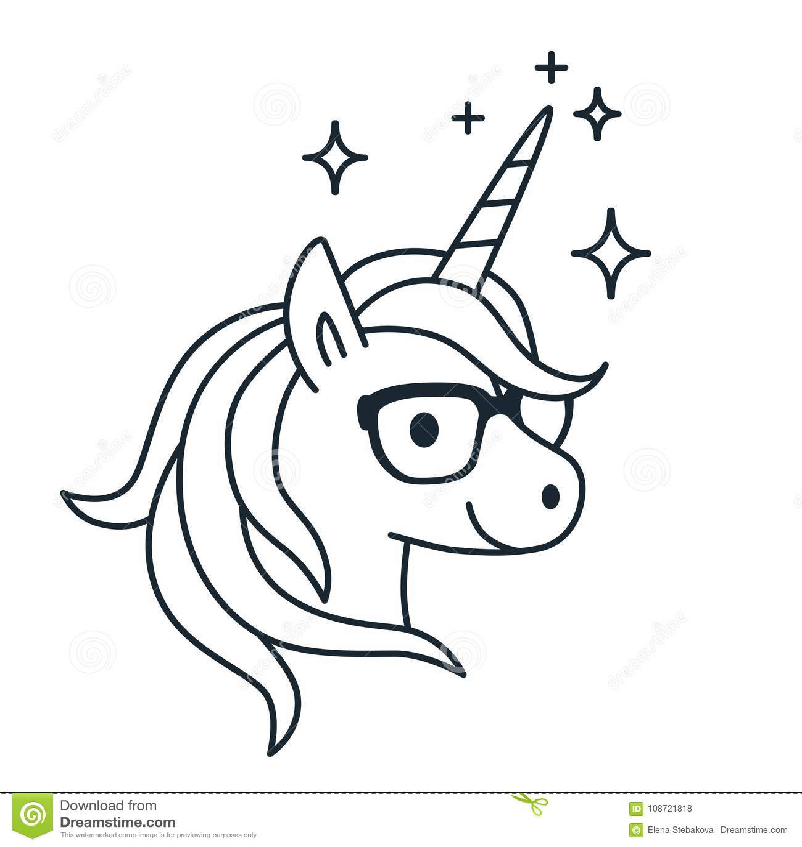 Cute Unicorn Wearing Eyeglasses Single Color Outline Illustratio