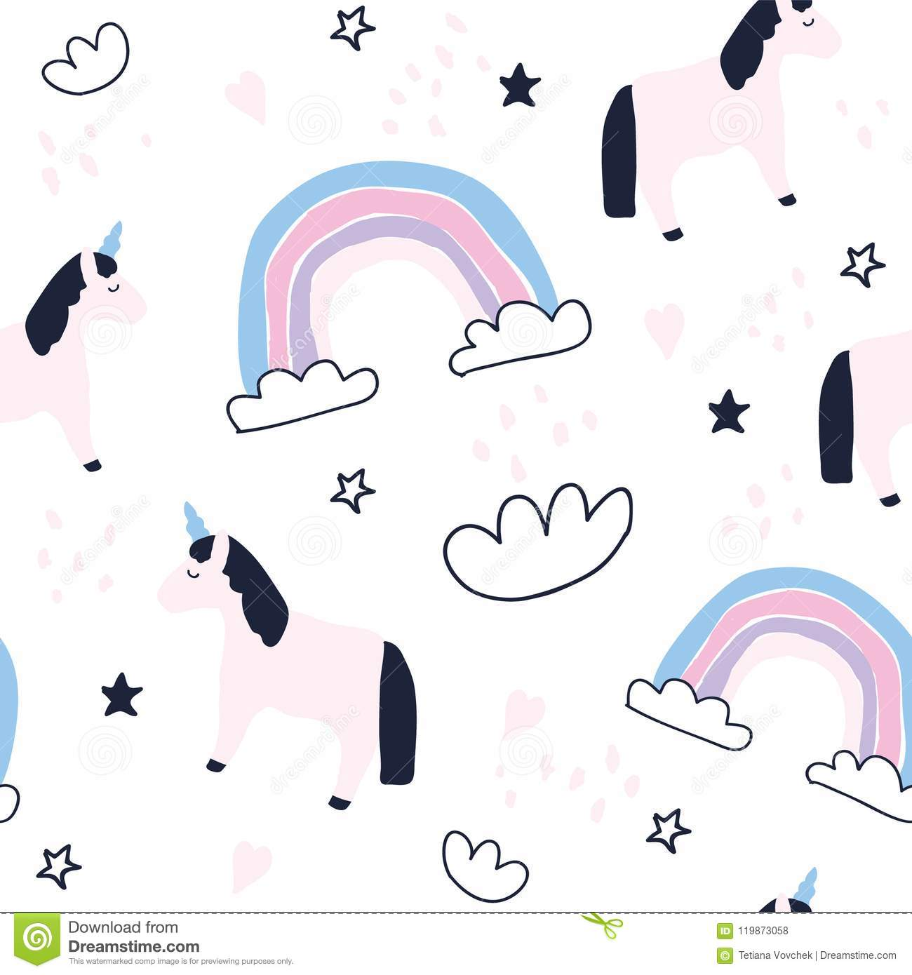 Cute Unicorns And Rainbows Seamless Pattern Stock Vector