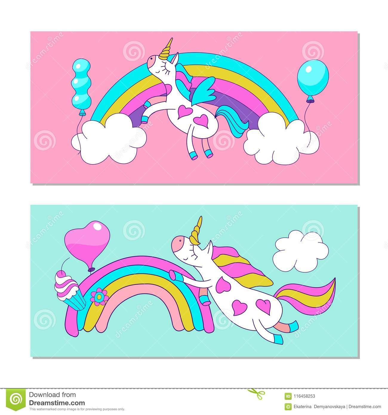 Cute Unicorns With Wings On A Rainbow Vector Illustration Stock