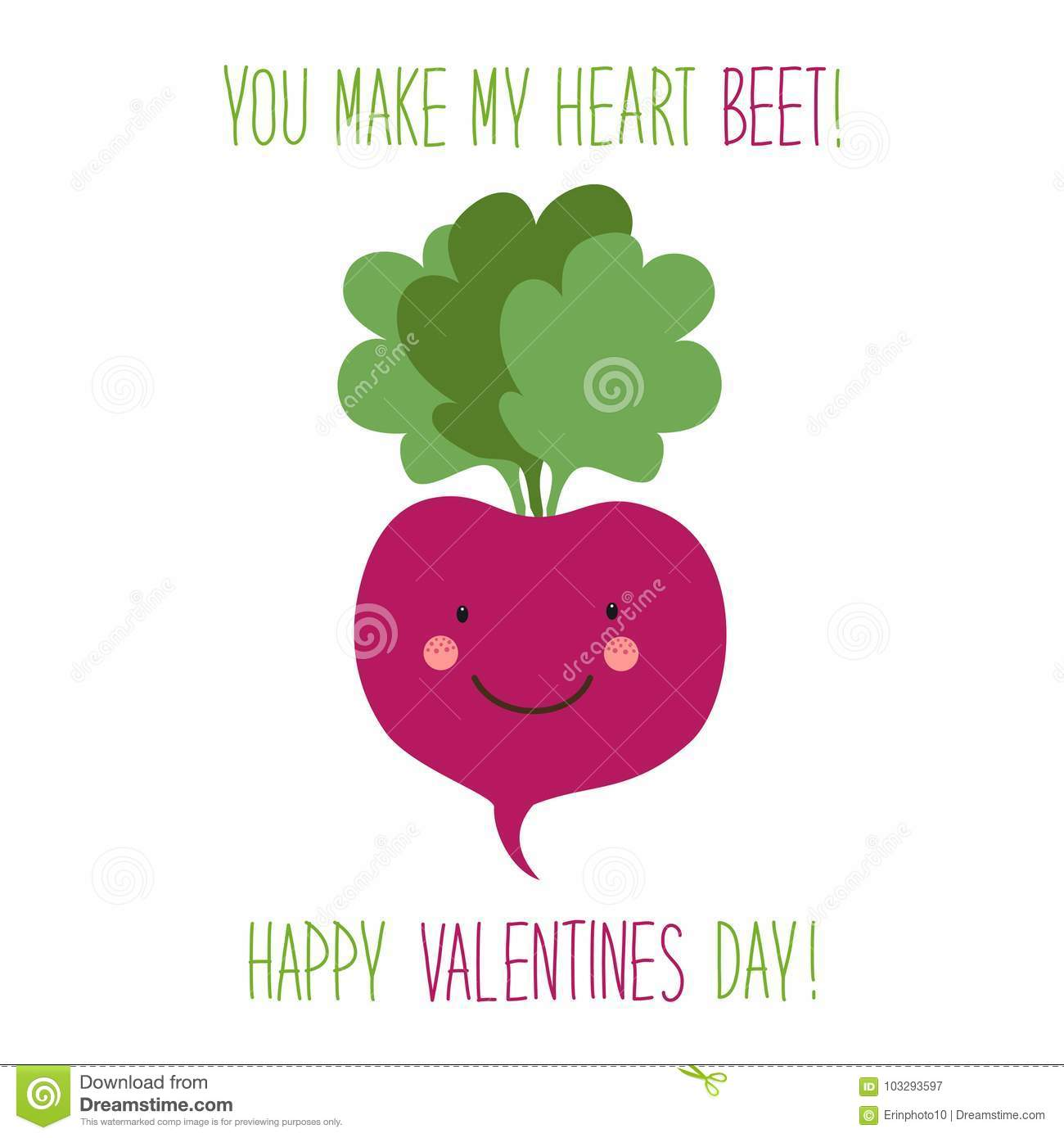Cute unusual hand drawn Valentines Day card with funny cartoon characters of beet