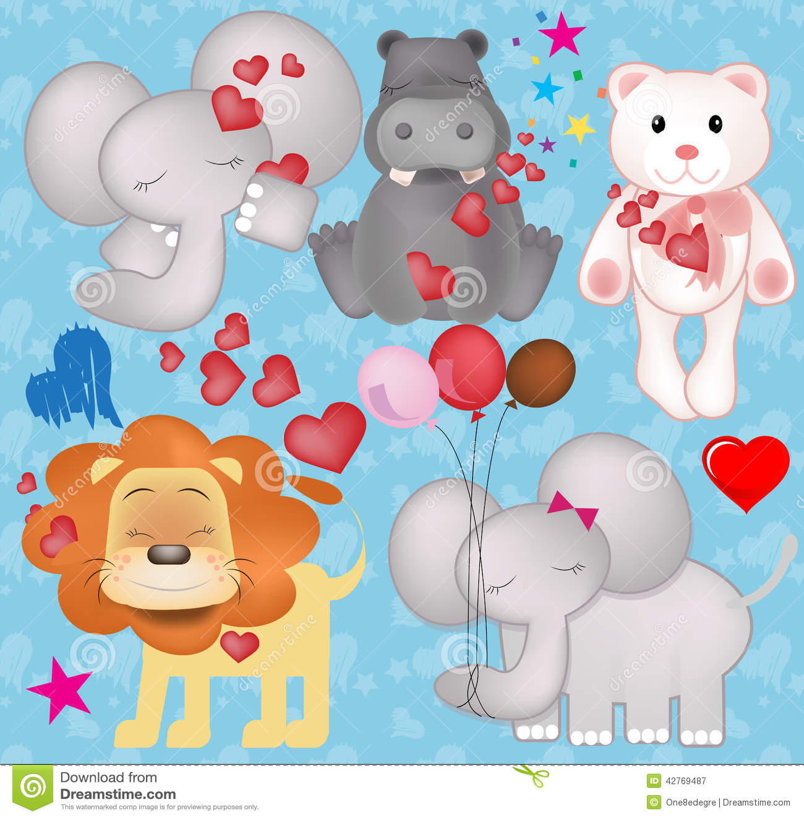 Cute Valentine Animals In Love Graphics Stock Illustration