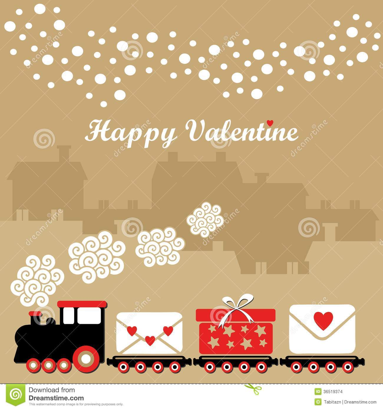 cute valentine card with train letters with heart