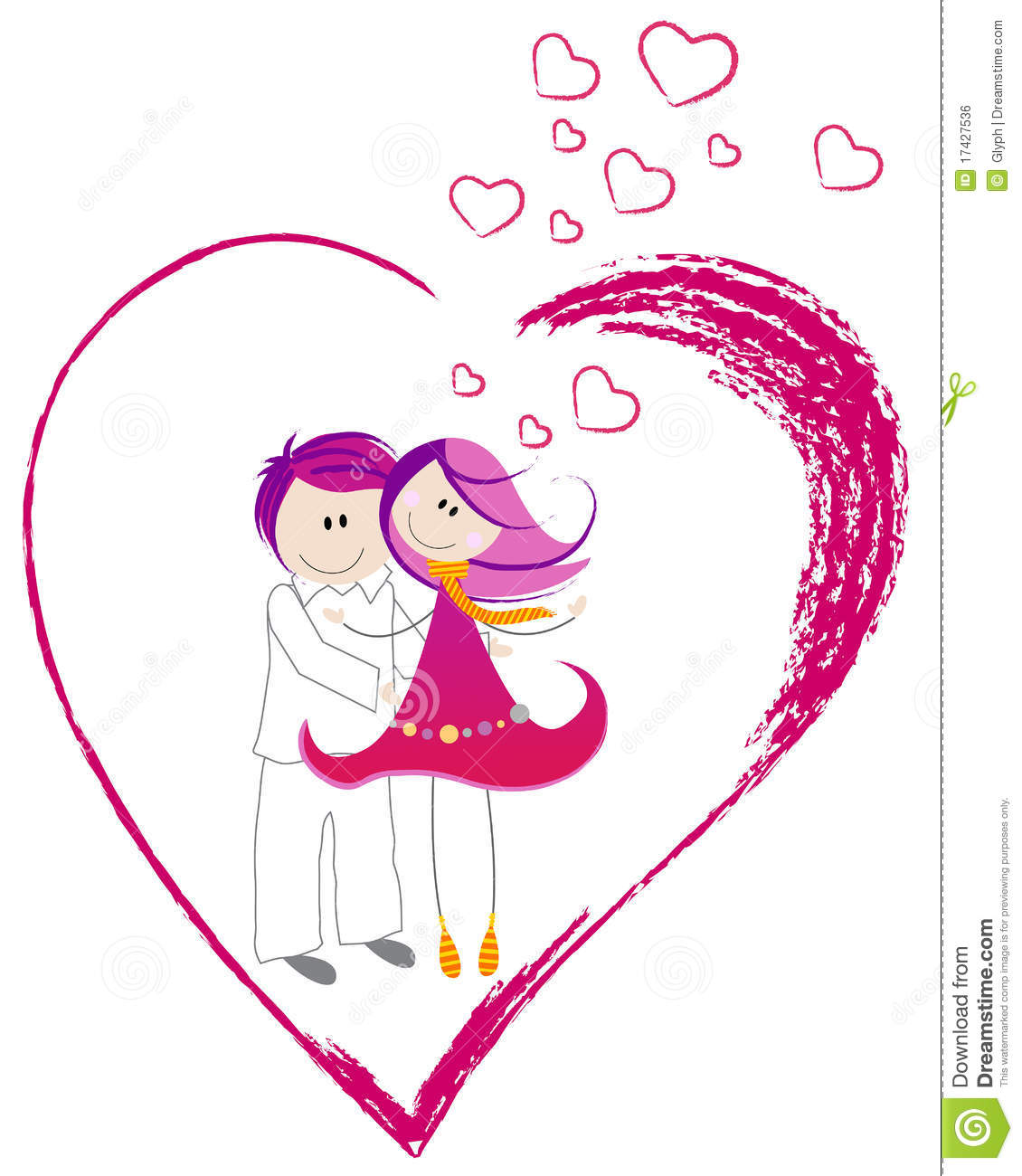 Cute valentines day heart with boy and girl stock vector cute valentine s day heart with boy and girl voltagebd Image collections