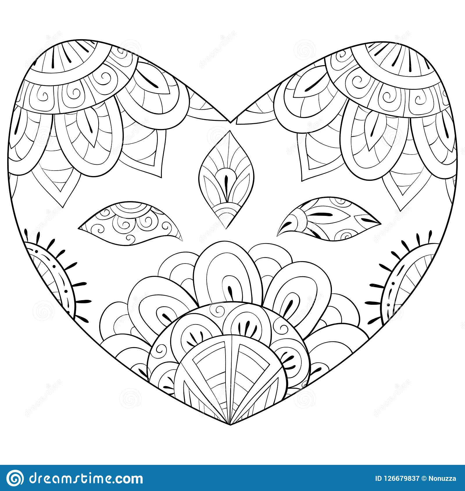 Adult Coloring Book,page A Valentine`s Day Theme Image For Relaxing ...