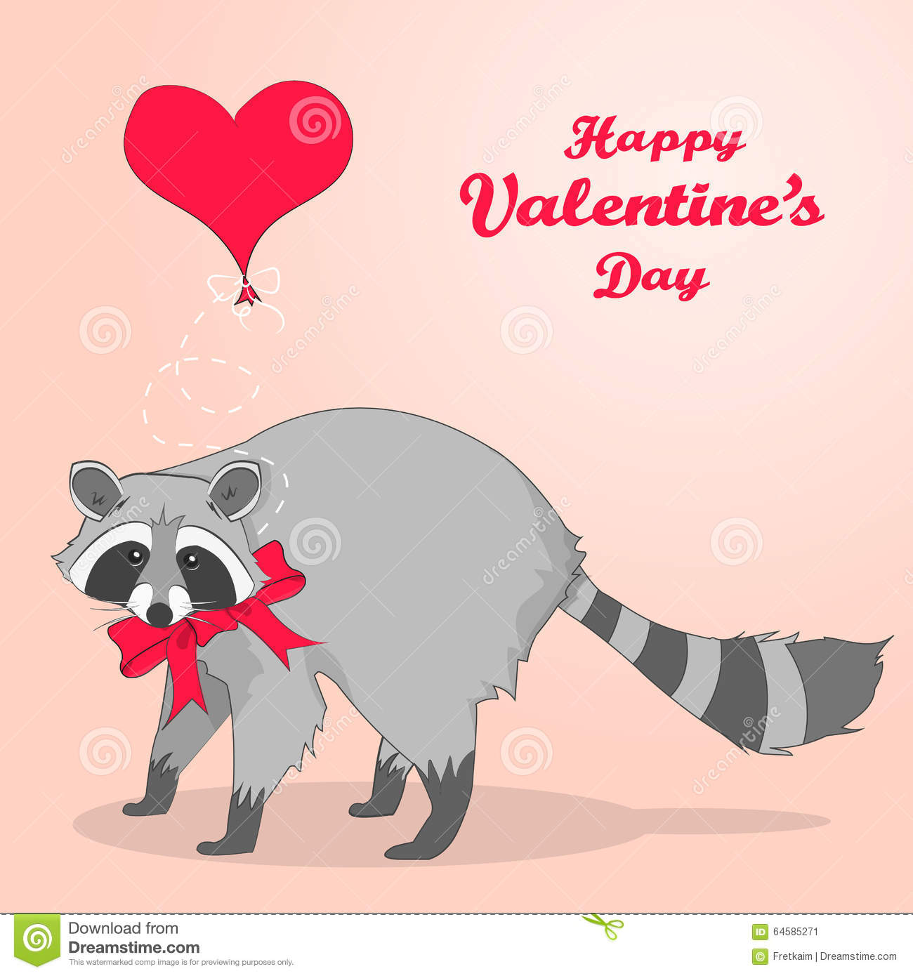 Cute Valentines Day Card With Cartoon Character Racoon Stock Vector
