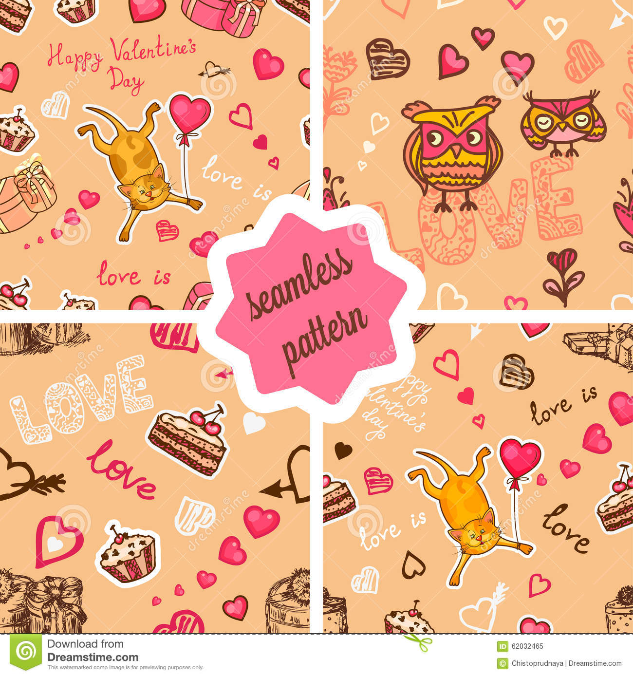 Cute valentines patterns set stock illustration image 62032465 - Cute valentines backgrounds ...