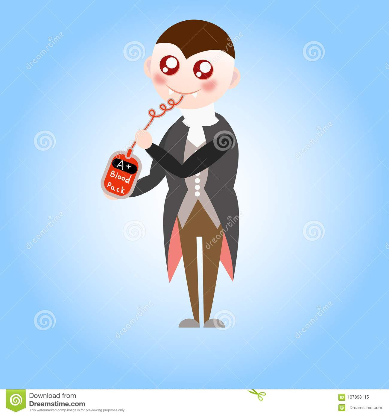 cute vampire drinks blood stock illustration. illustration of