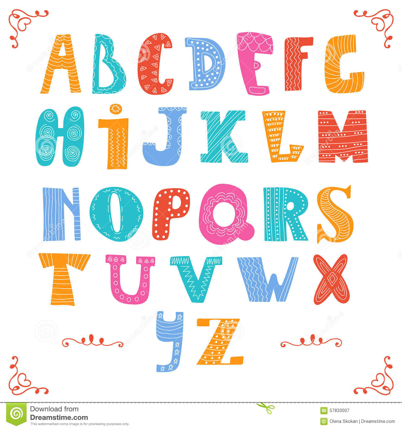 Cute Vector Alphabet On White Background Hand Drawn Le Stock Vector