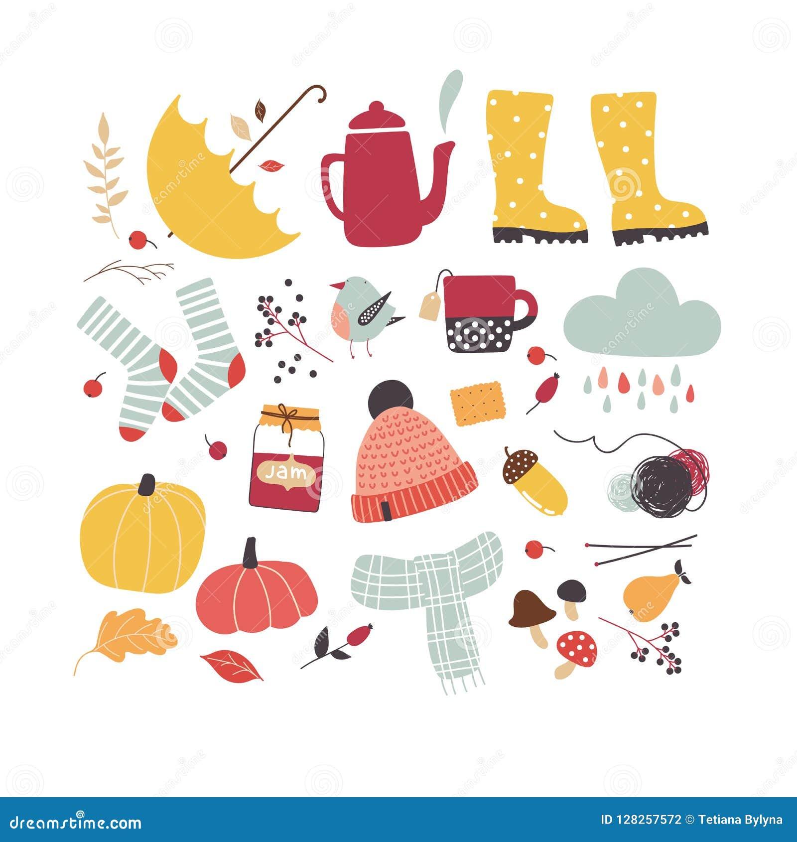 Cute Vector Autumn Attributes Autumn Mood Stock Vector