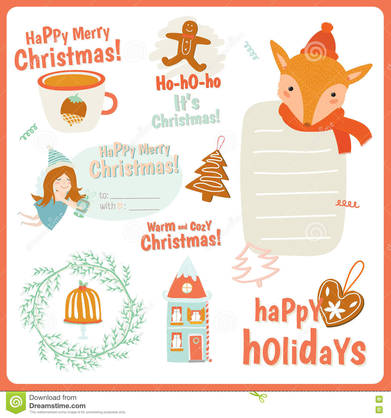 Cute Vector Cards, Notes, Stickers, Labels, Tags Stock Vector