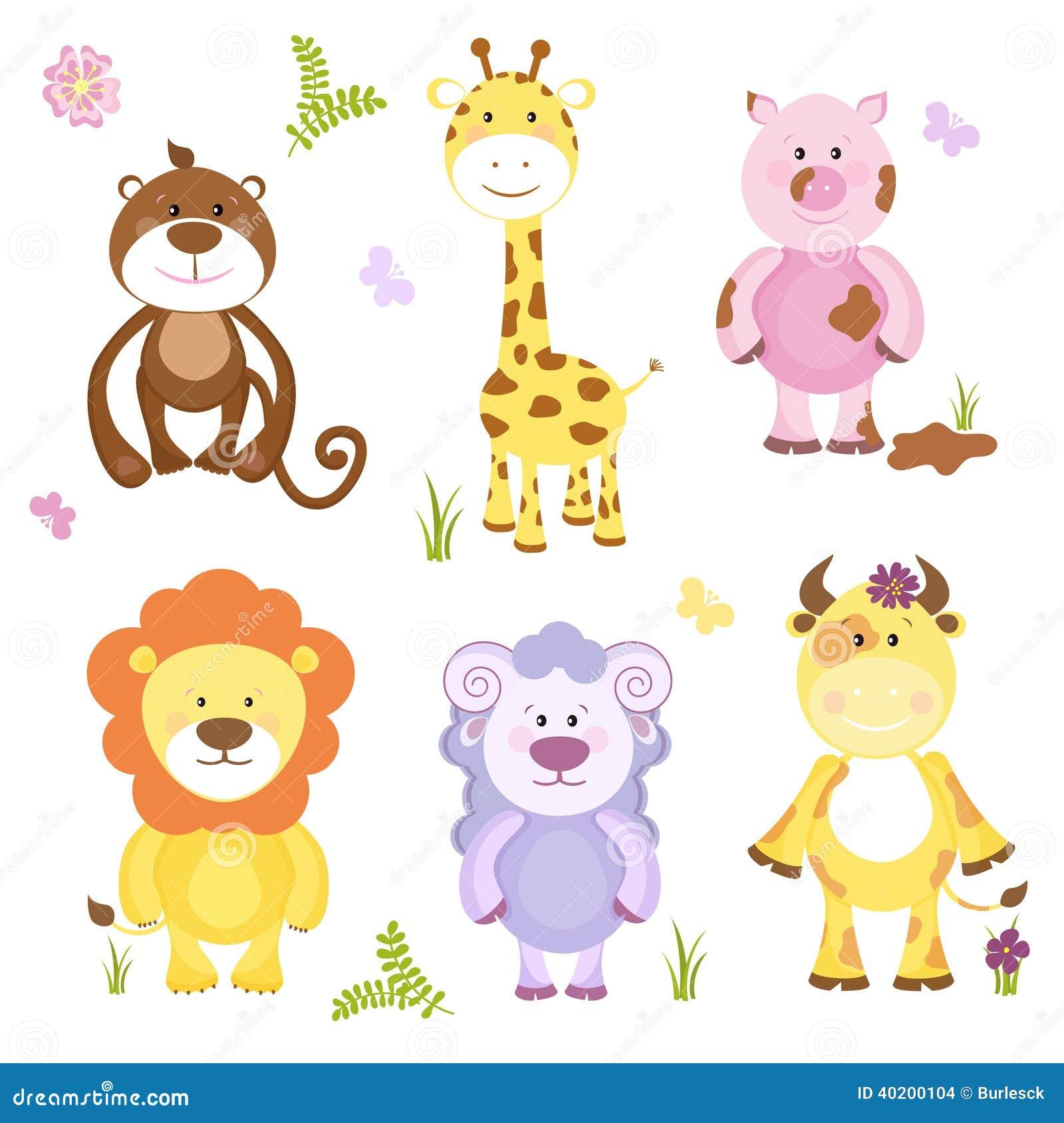 Wild Animal Wall Stickers Cute Vector Cartoon Animal Set Stock Vector Image 40200104