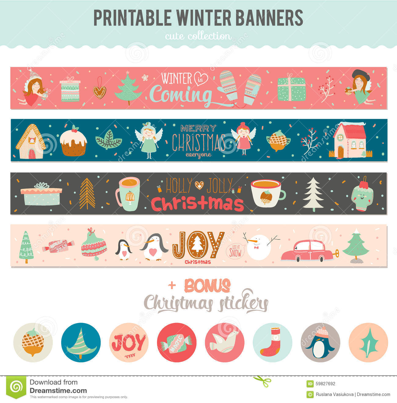 Cute vector christmas cards and stickers stock vector illustration romantic and cute vector cards notes stickers labels tags with winter christmas illustrations and wishes template for new year greeting scrapbooking m4hsunfo