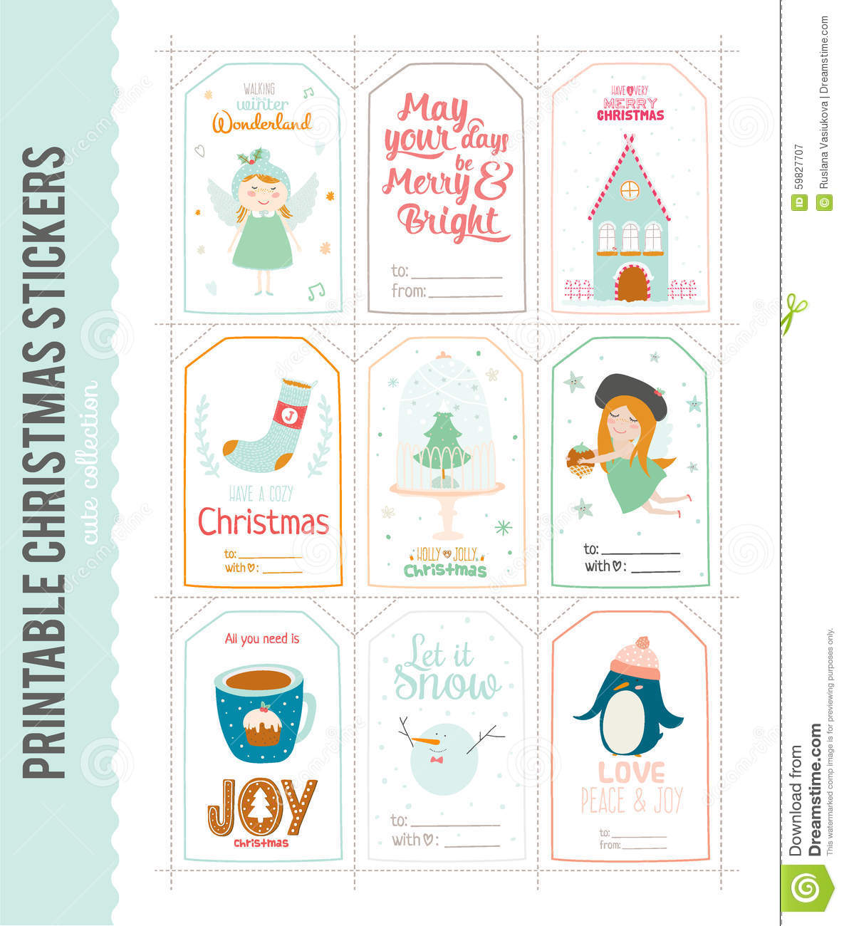 Cute Vector Christmas Cards And Stickers Stock Vector - Illustration ...