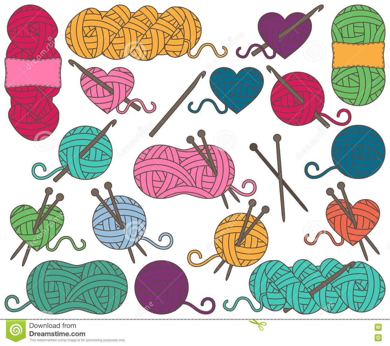 Cute Vector Collection of Balls of Yarn, Skeins of Yarn or Thread