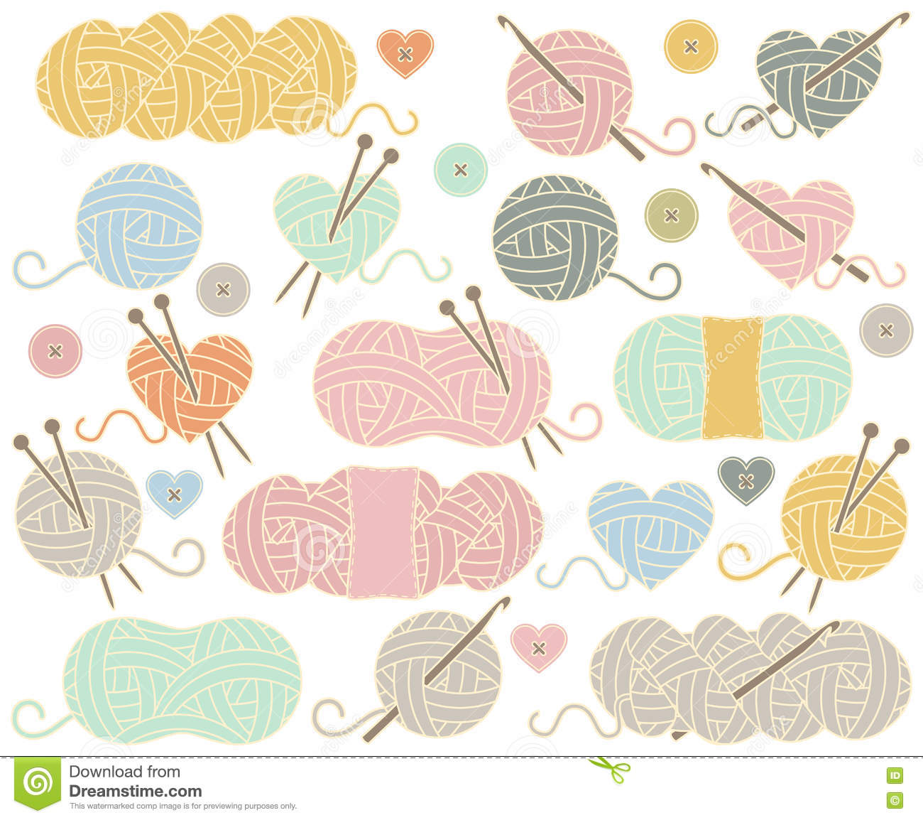 Cute Vector Collection Of Balls Of Yarn Skeins Of Yarn Or Thread Stock Vector Illustration Of Leisure Hobby 77272177