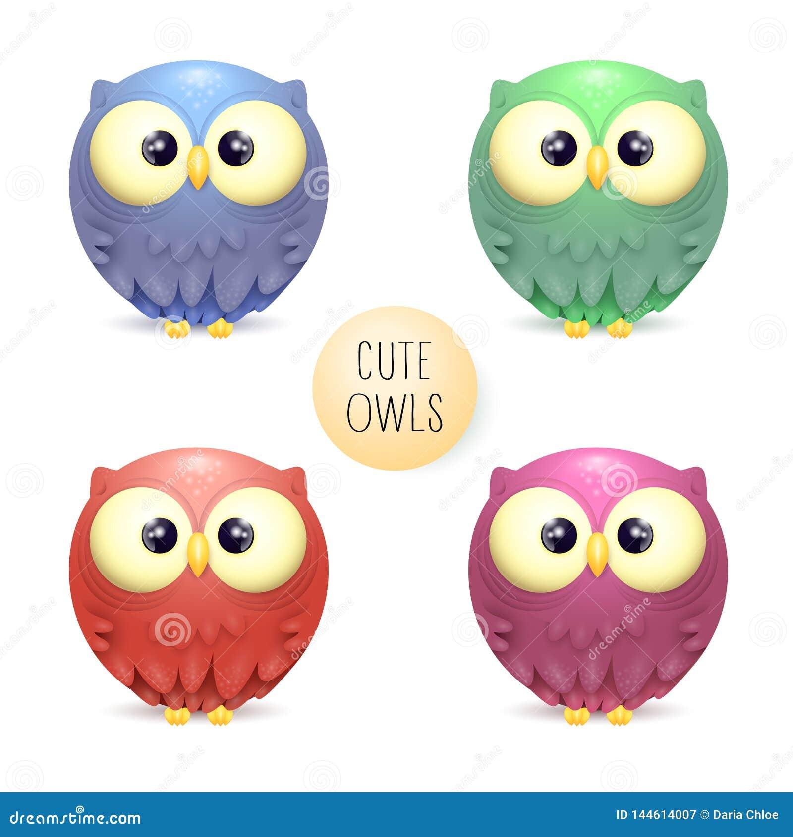 Cute vector collection of bright multicolor owls
