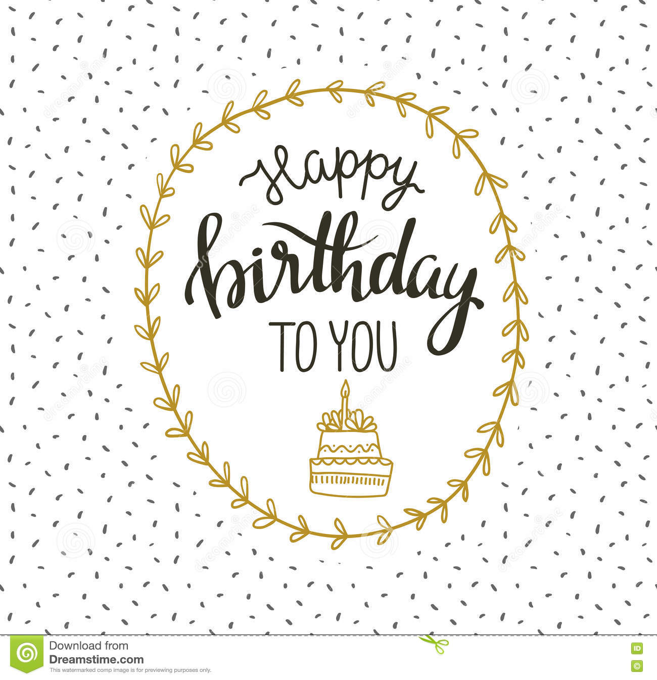 Cute Vector Happy Birthday To You Card With Cake And Wreath Vector