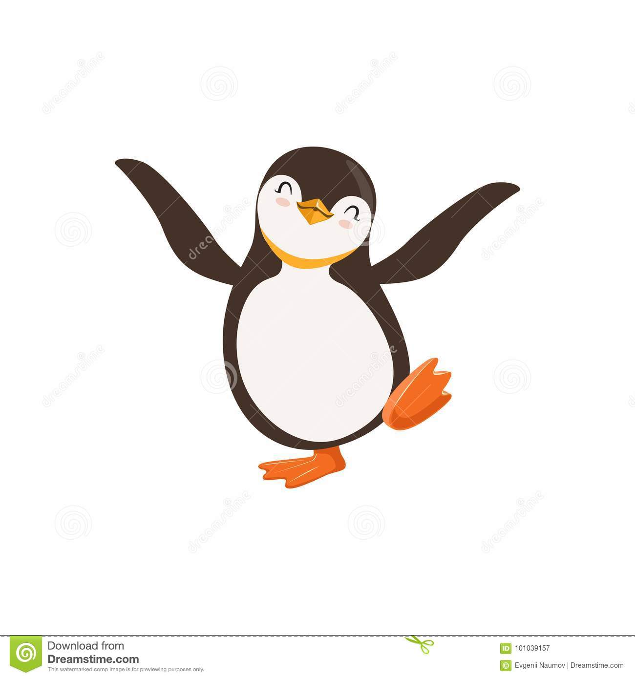 Cute vector Happy Penguin Toon Character Dancing With Its Eyes Closed On A White background