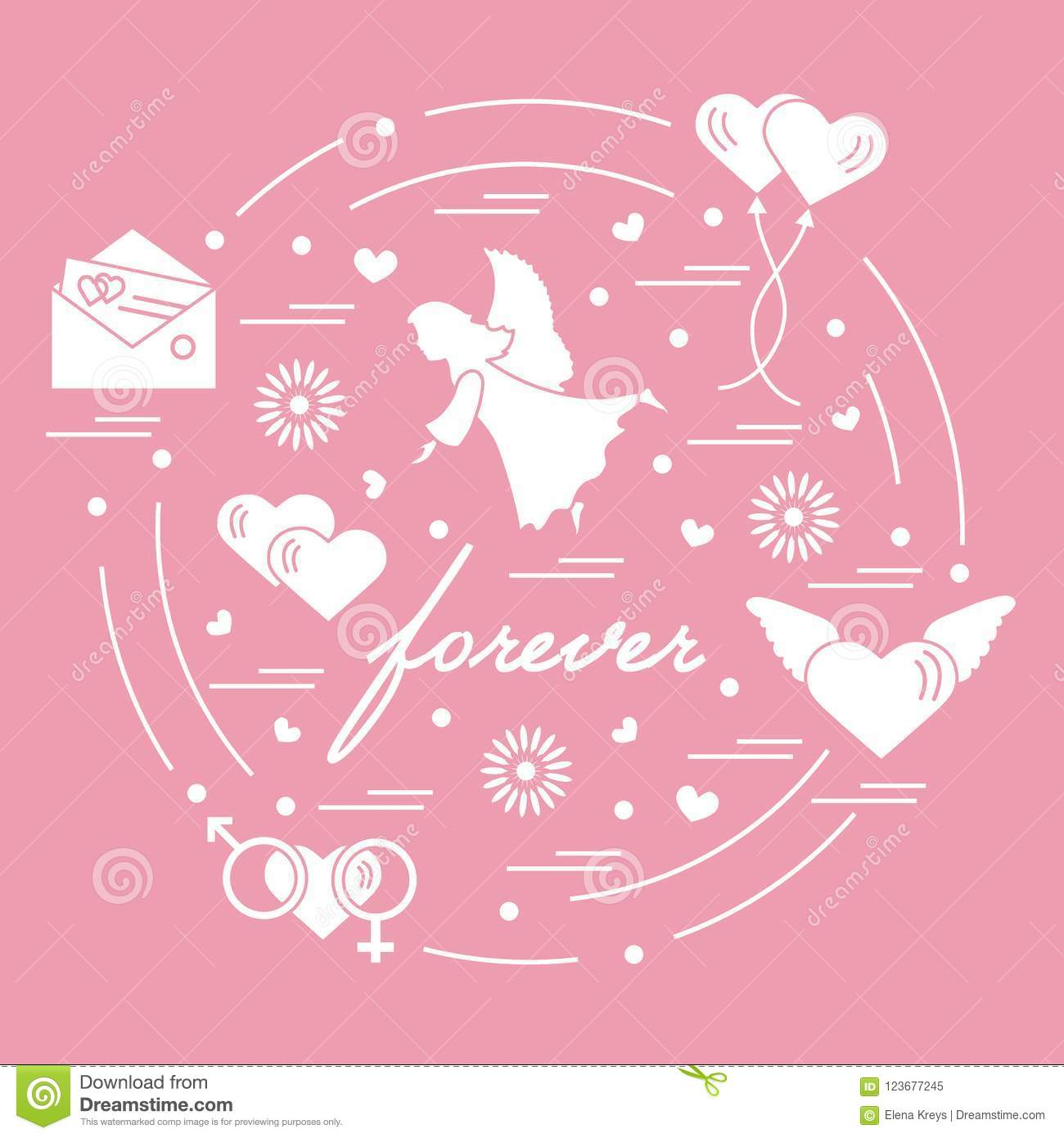 Cute Vector Illustration With Different Love Symbols Hearts Ai
