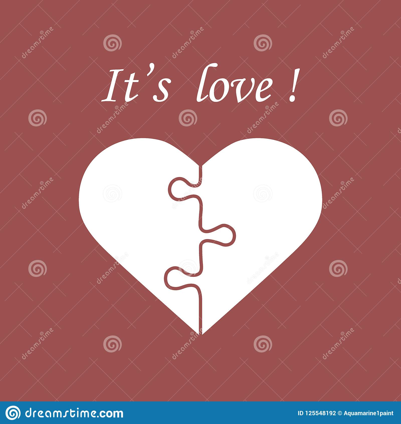 Cute Vector Illustration With Heart In The Form Of A Puzzle And