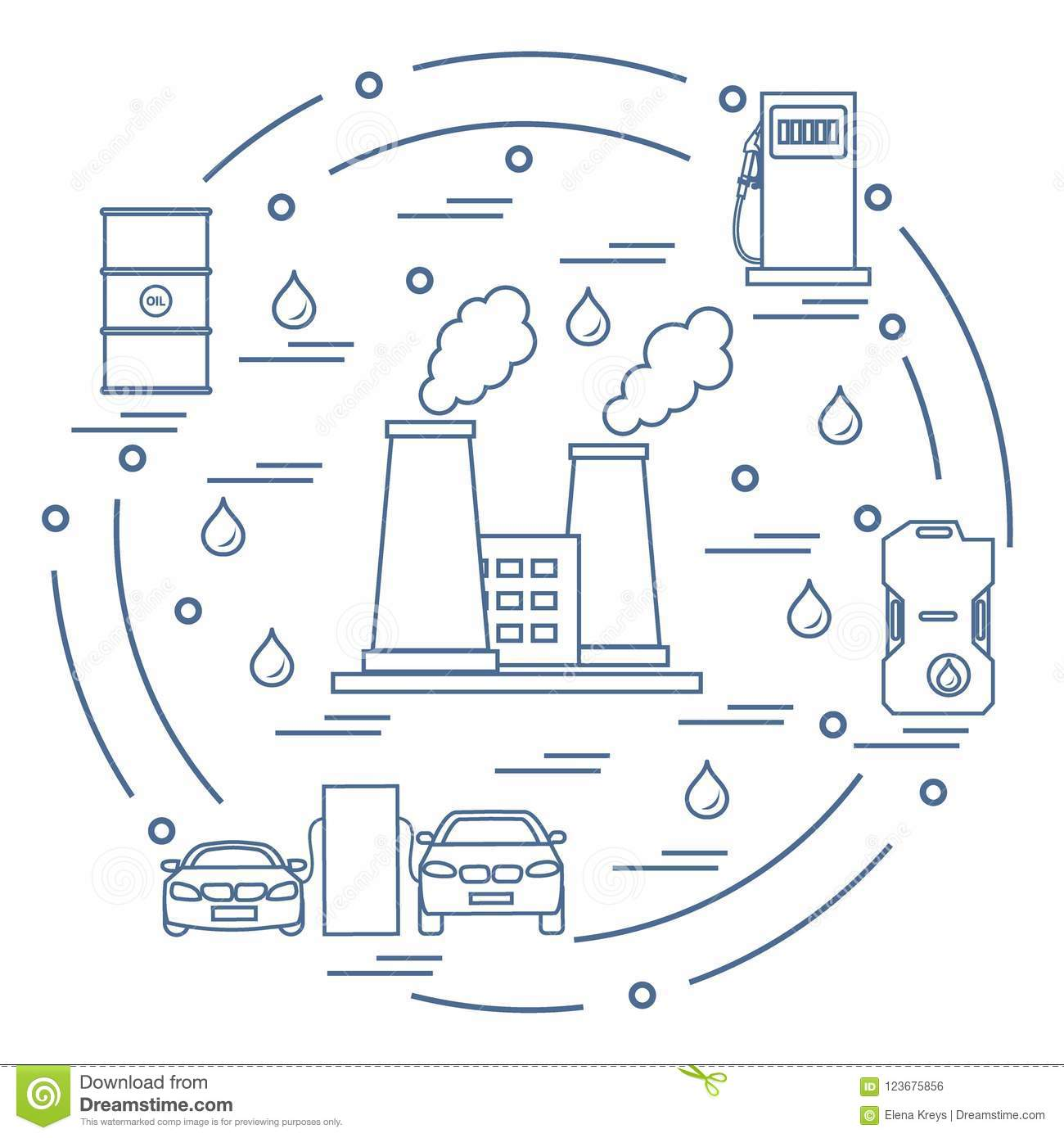Cute Vector Illustration Of Refinery Plant With Smoking