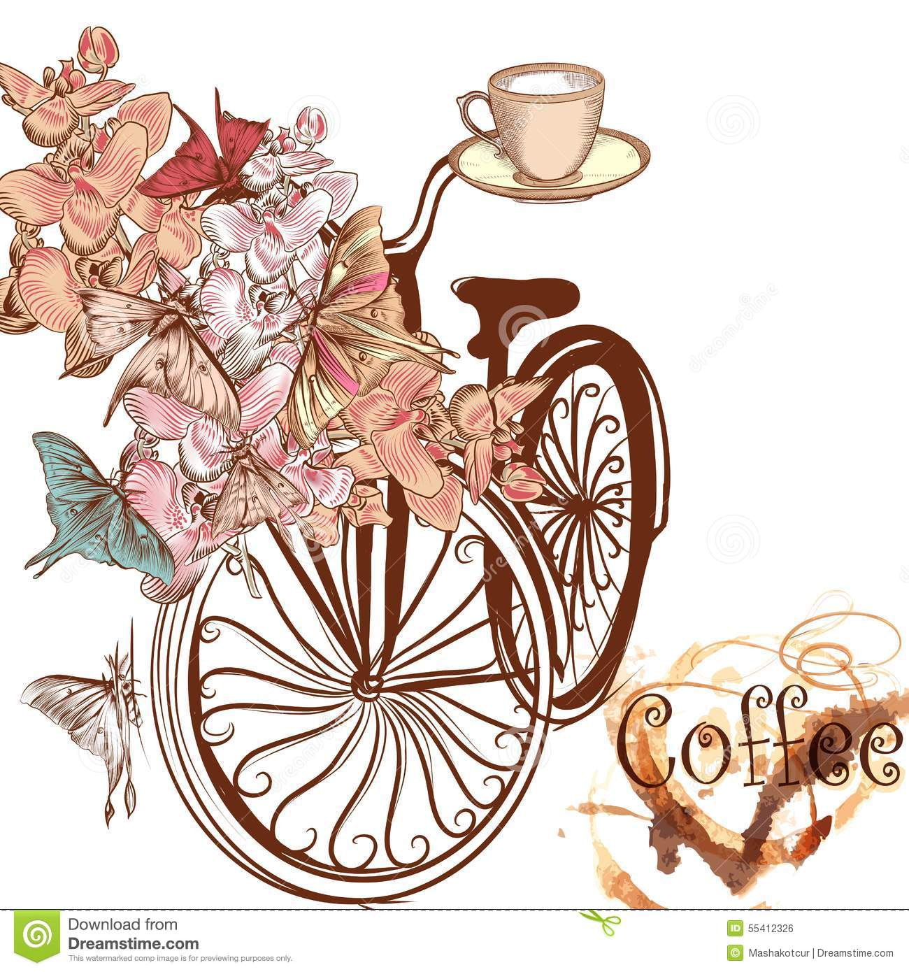 Cute Vector Invitation With Fake Bicycle And Flowers Stock ...