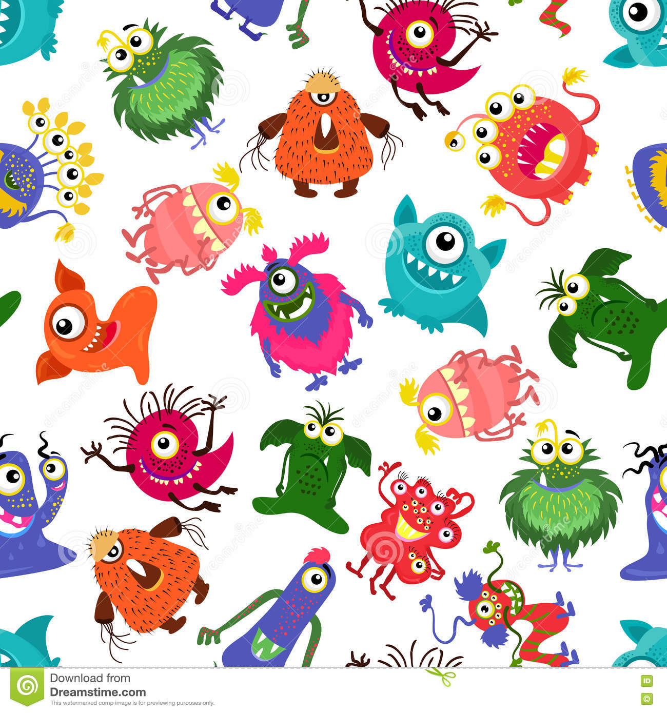 cute vector seamless colorful monster pattern for happy little boy