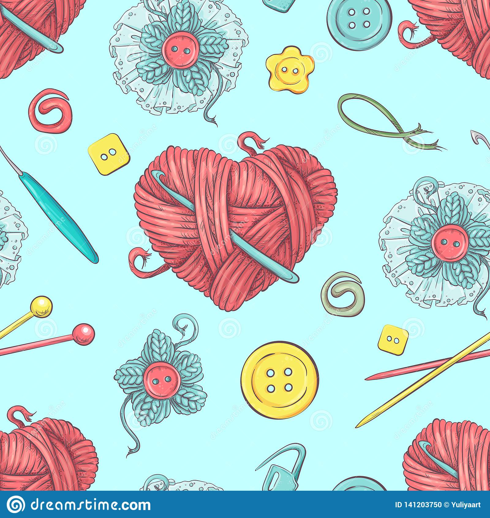 Cute seamless pattern of balls of yarn, buttons, skeins of yarn or knitting and crocheting.