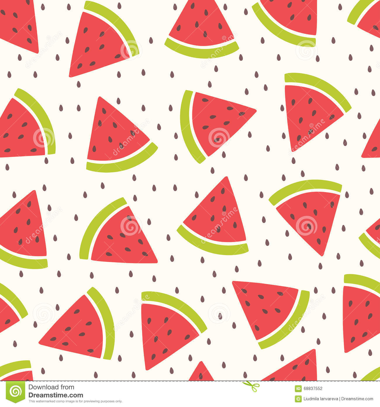 cute vector seamless pattern with watermelon. stock vector
