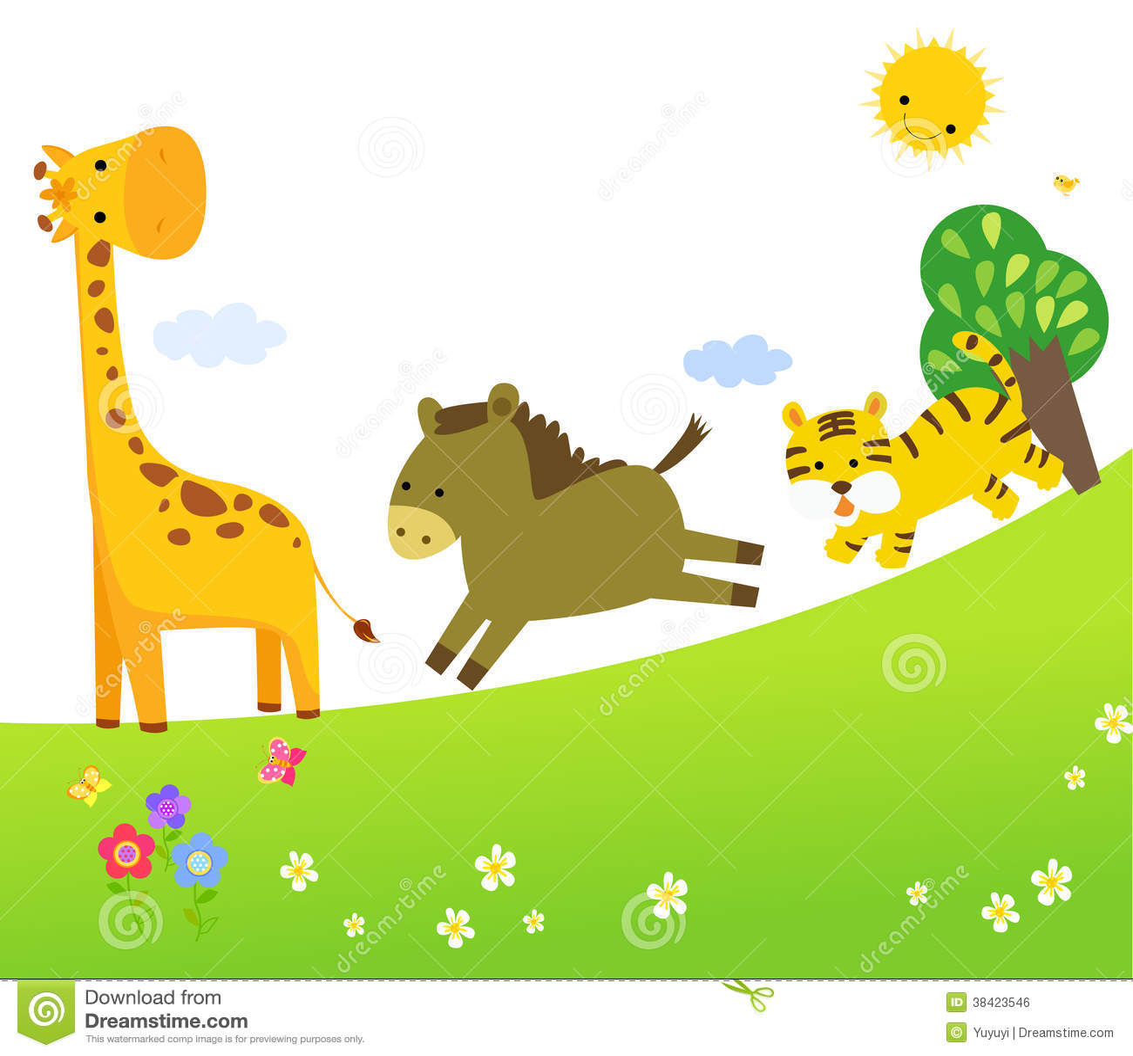 Cute Vector Set Of Zoo Animals Stock Vector Illustration