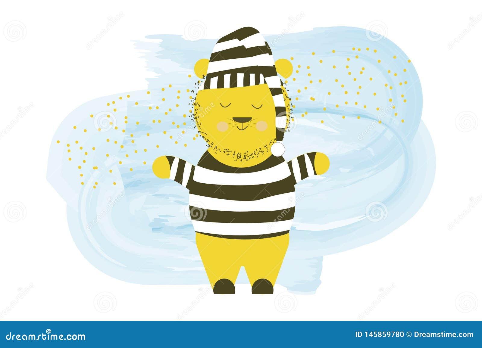 Cute vector sleepy bear in a nightgown - cartoon hand drawing illustration