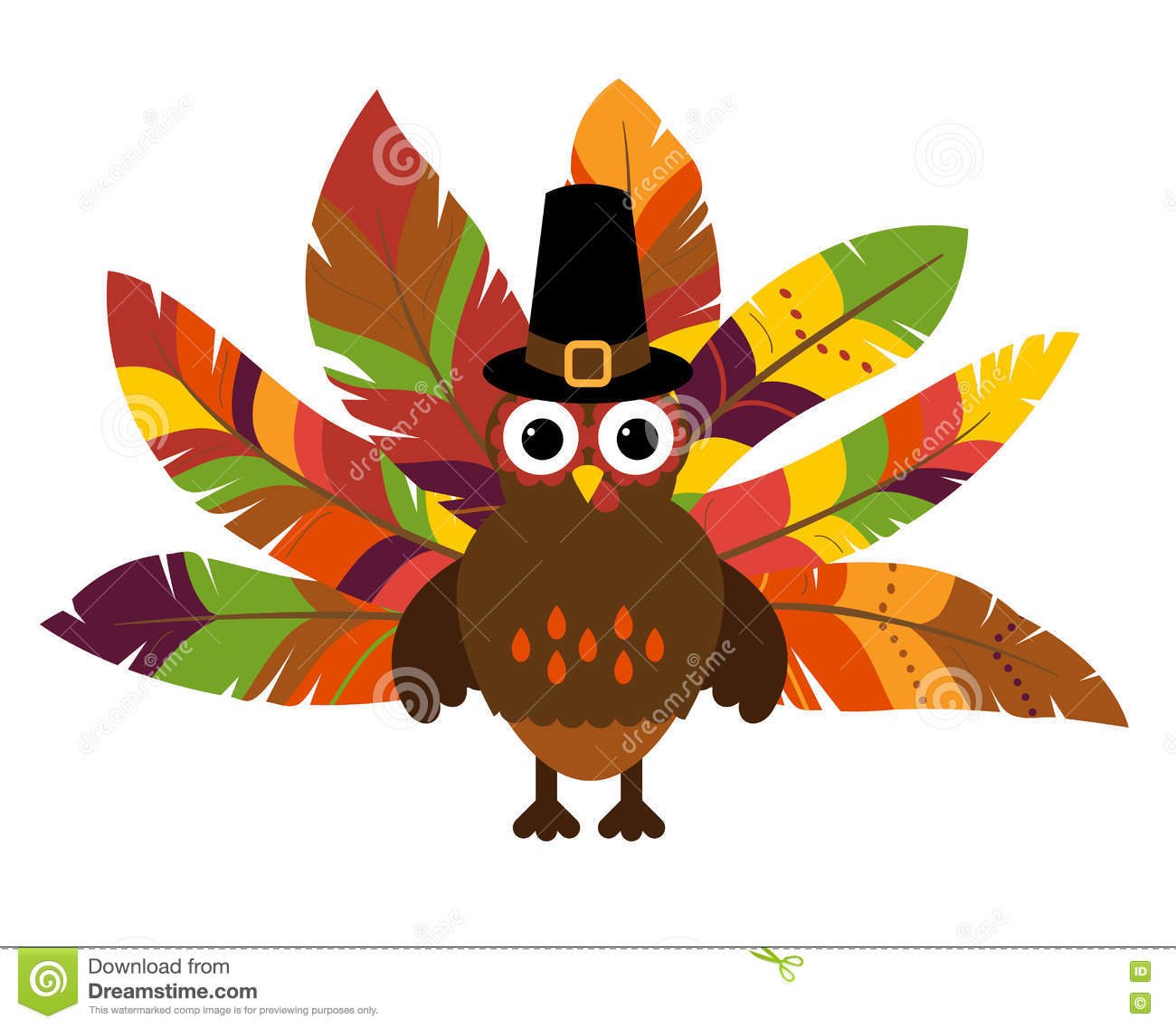 Cute Vector Turkey With Colorful Feathers For Thanksgiving ...