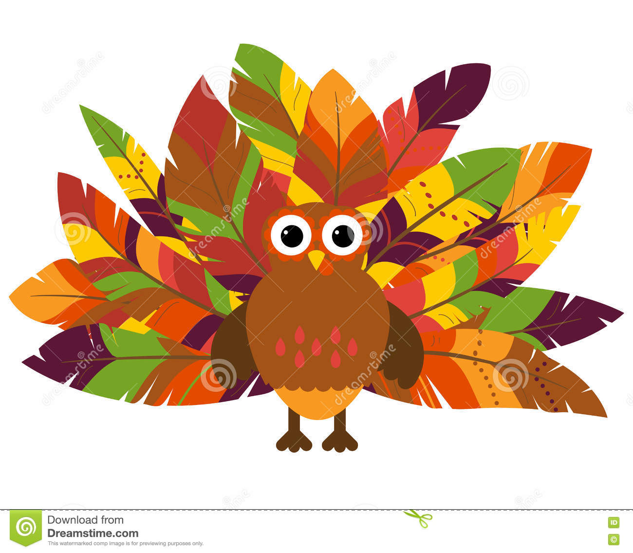 cute vector turkey with colorful feathers for thanksgiving stock