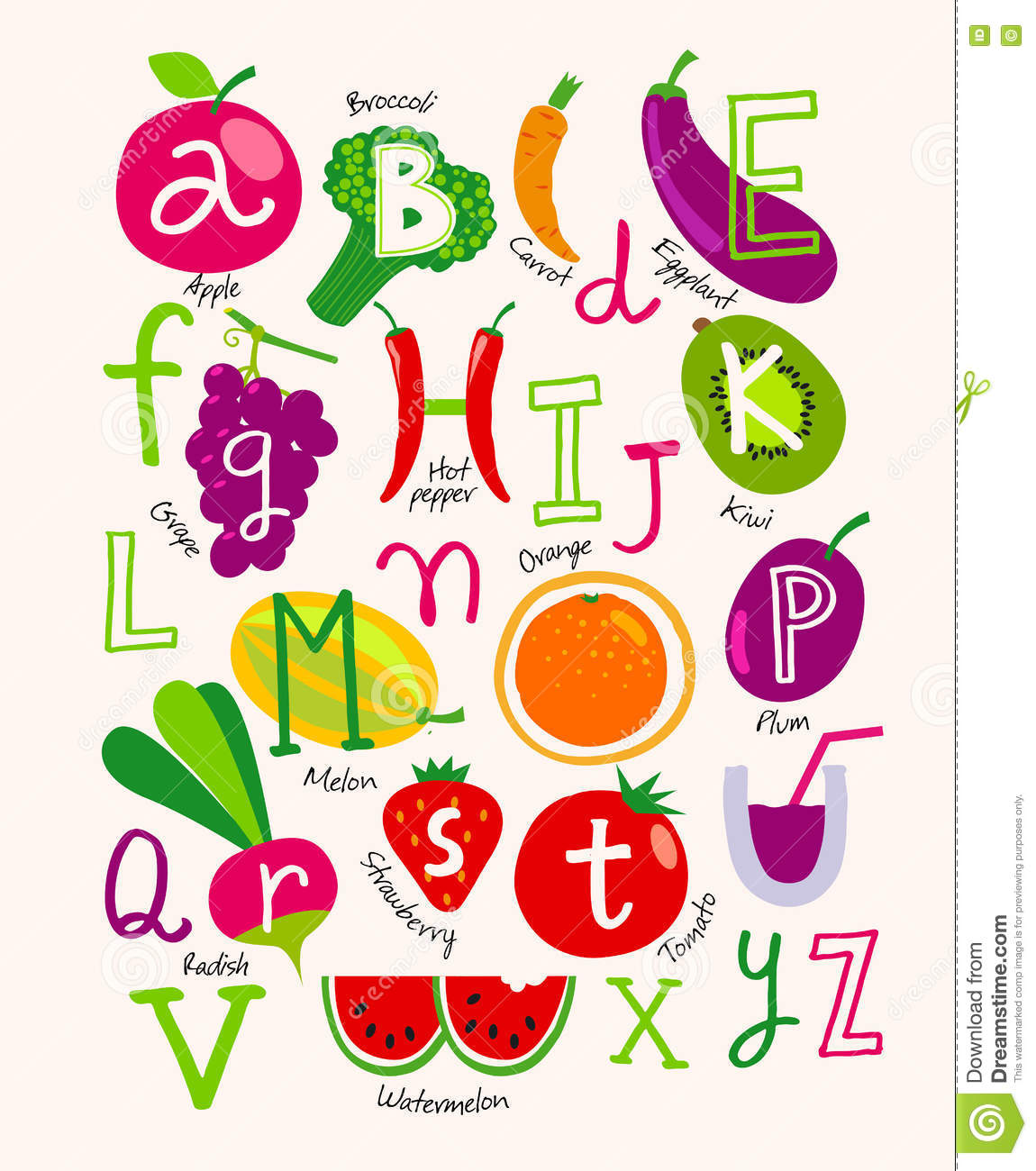 Cute Vector Vegetarian Alphabet With Fruits And Vegetables ...
