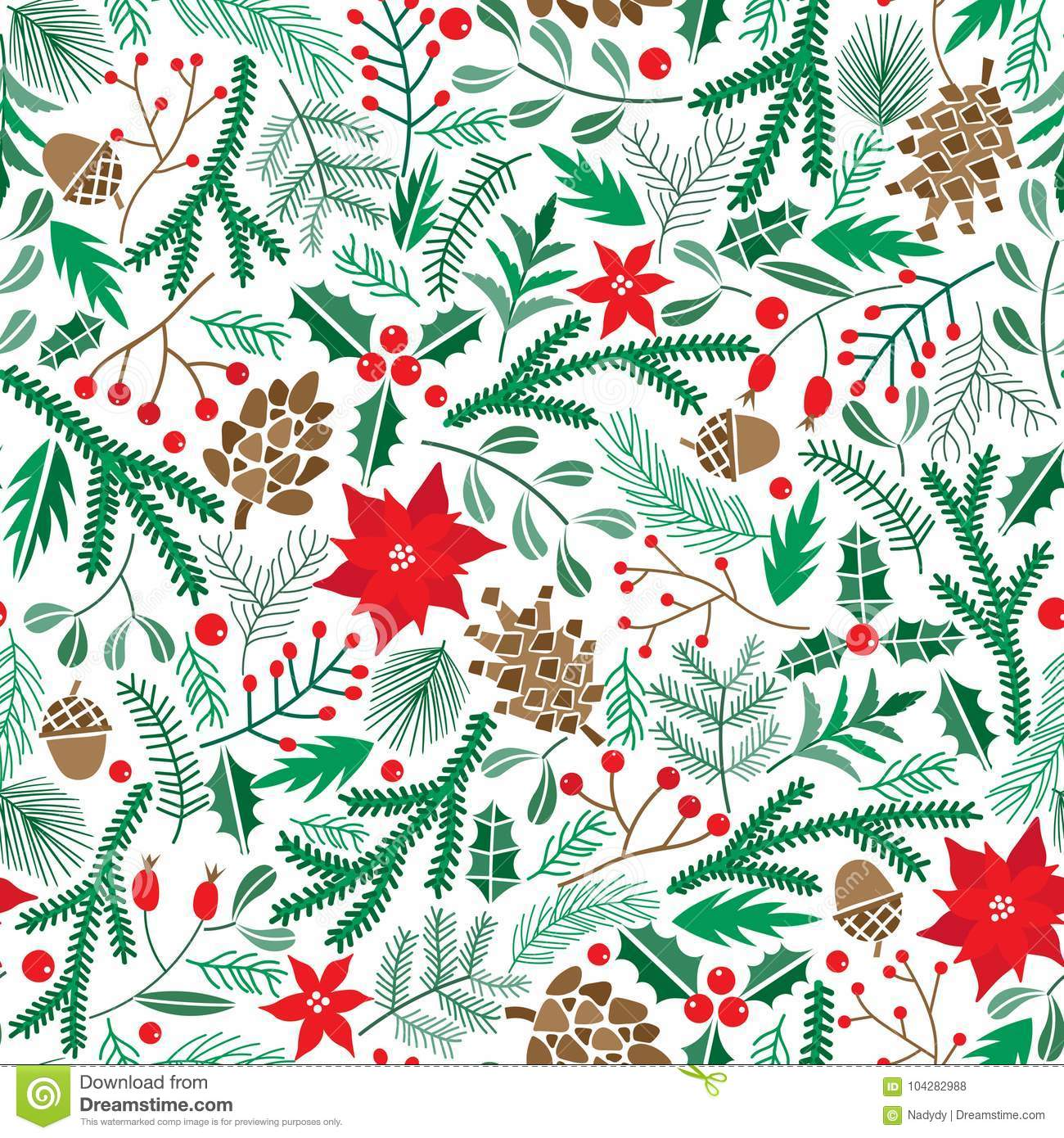 Vector Winter Floral Seamless Pattern Christmas Poinsettia Flower