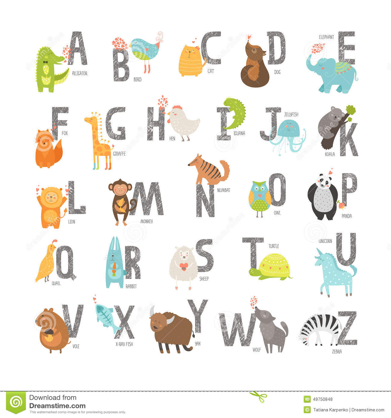 Cute vector zoo alphabet with cartoon animals isolated on white ...
