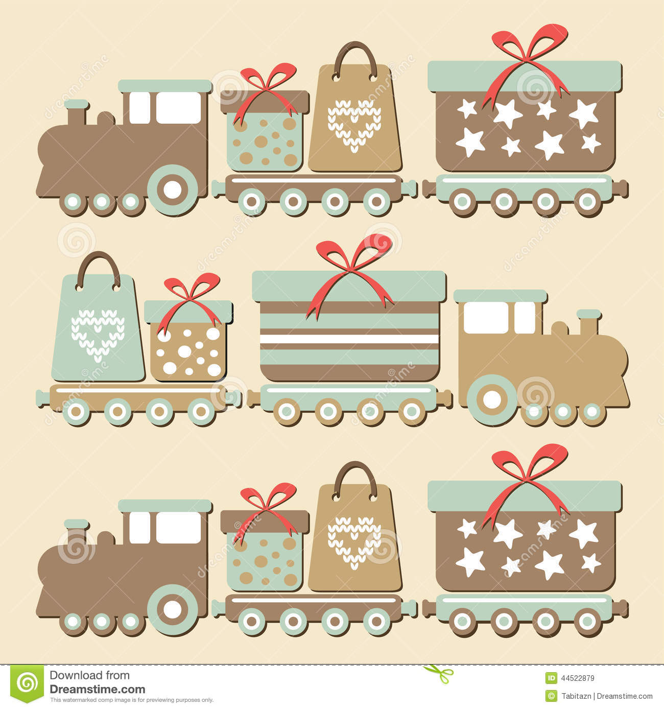 download cute vintage christmas steam train with gifts ca stock vector illustration of retro - Vintage Christmas Gifts