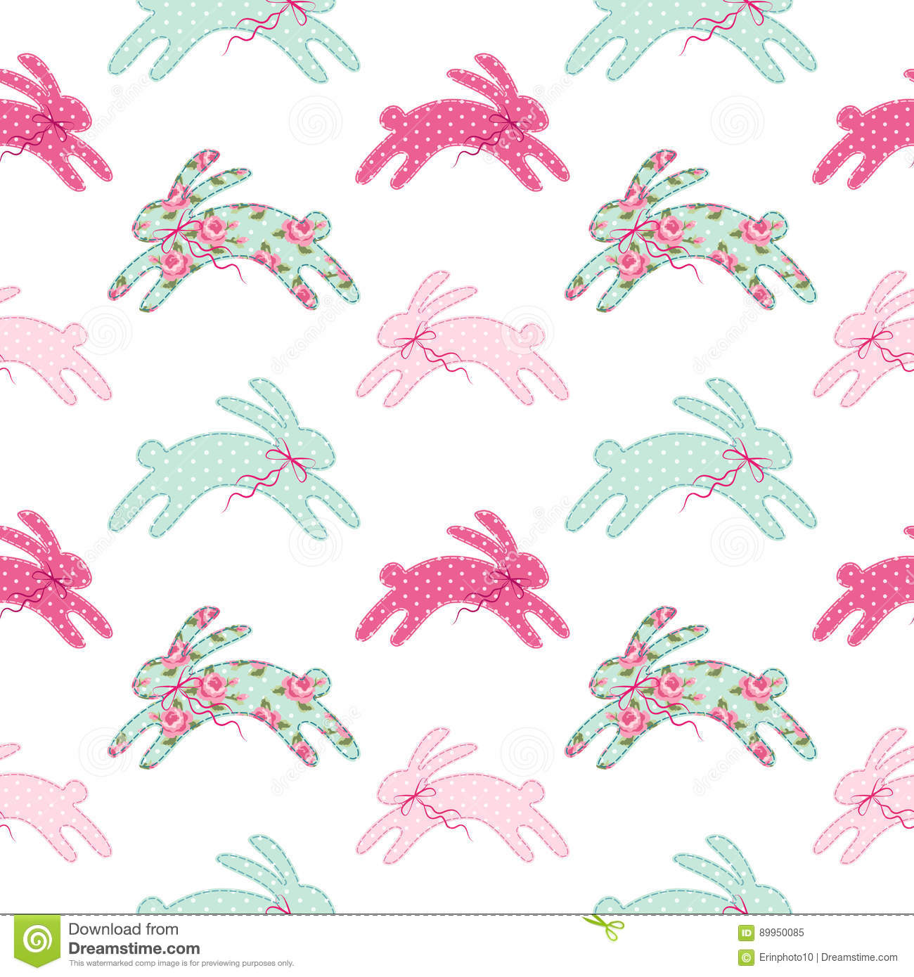 Cute vintage Easter seamless pattern with bunnies as retro fabric patch applique in shabby chic style