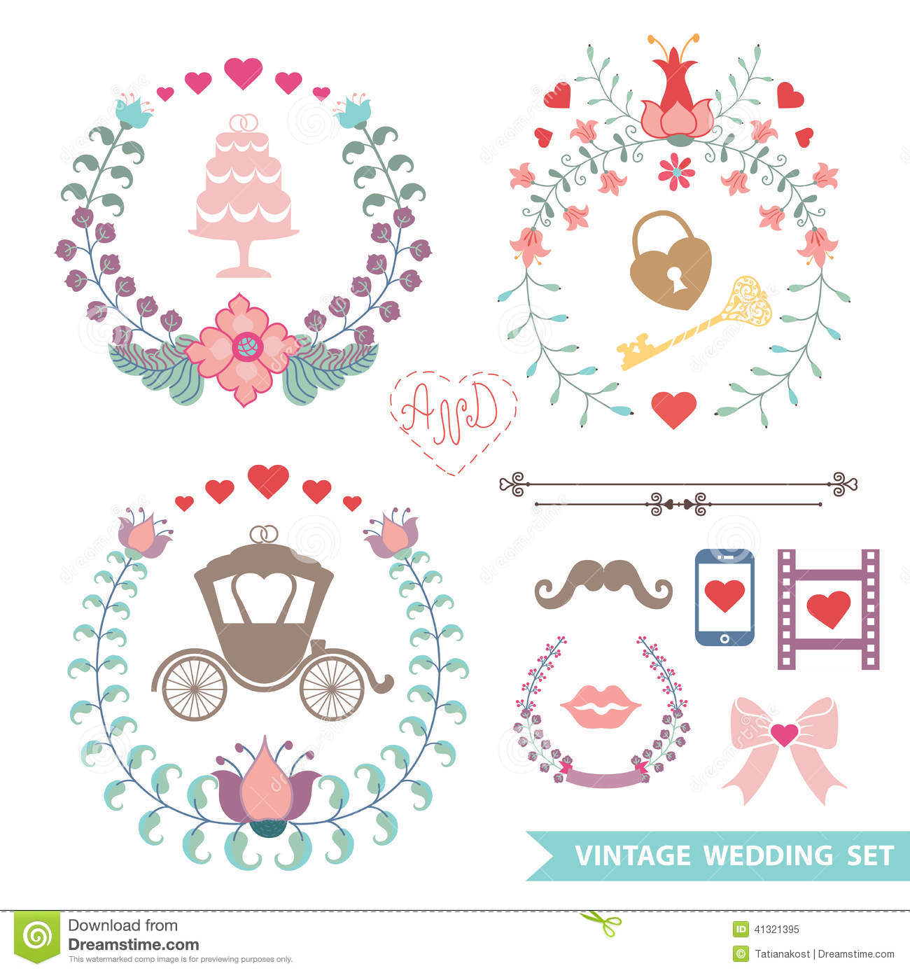 cute vintage floral set with hearts love decor cartoon. Black Bedroom Furniture Sets. Home Design Ideas