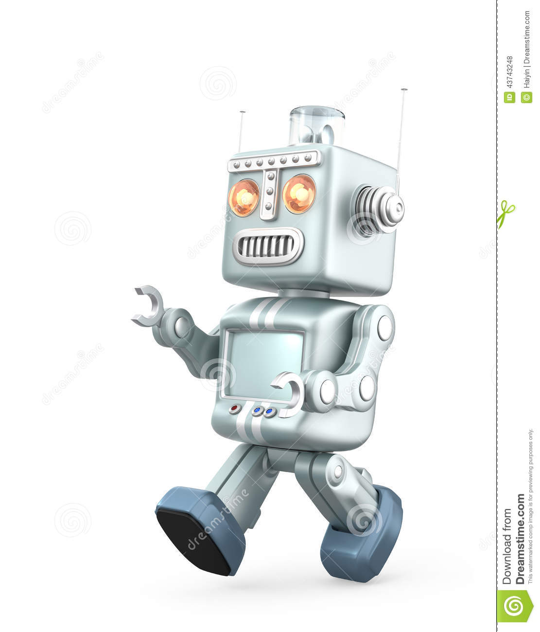 Cute Vintage Robot Running. Isolated On White Background ...
