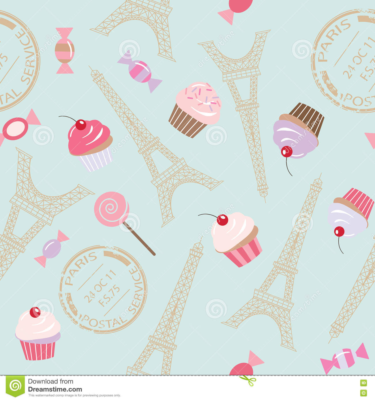 Cute Vintage Seamless Pattern Background With Eiffel Tower And