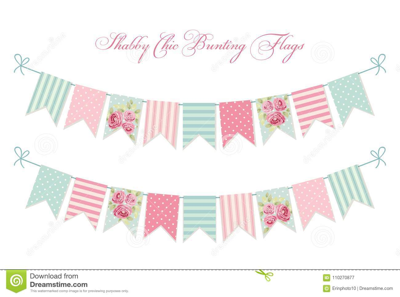 cute vintage shabby chic textile bunting flags stock vector rh dreamstime com shabby chic bunting uk shabby chic bunting vector