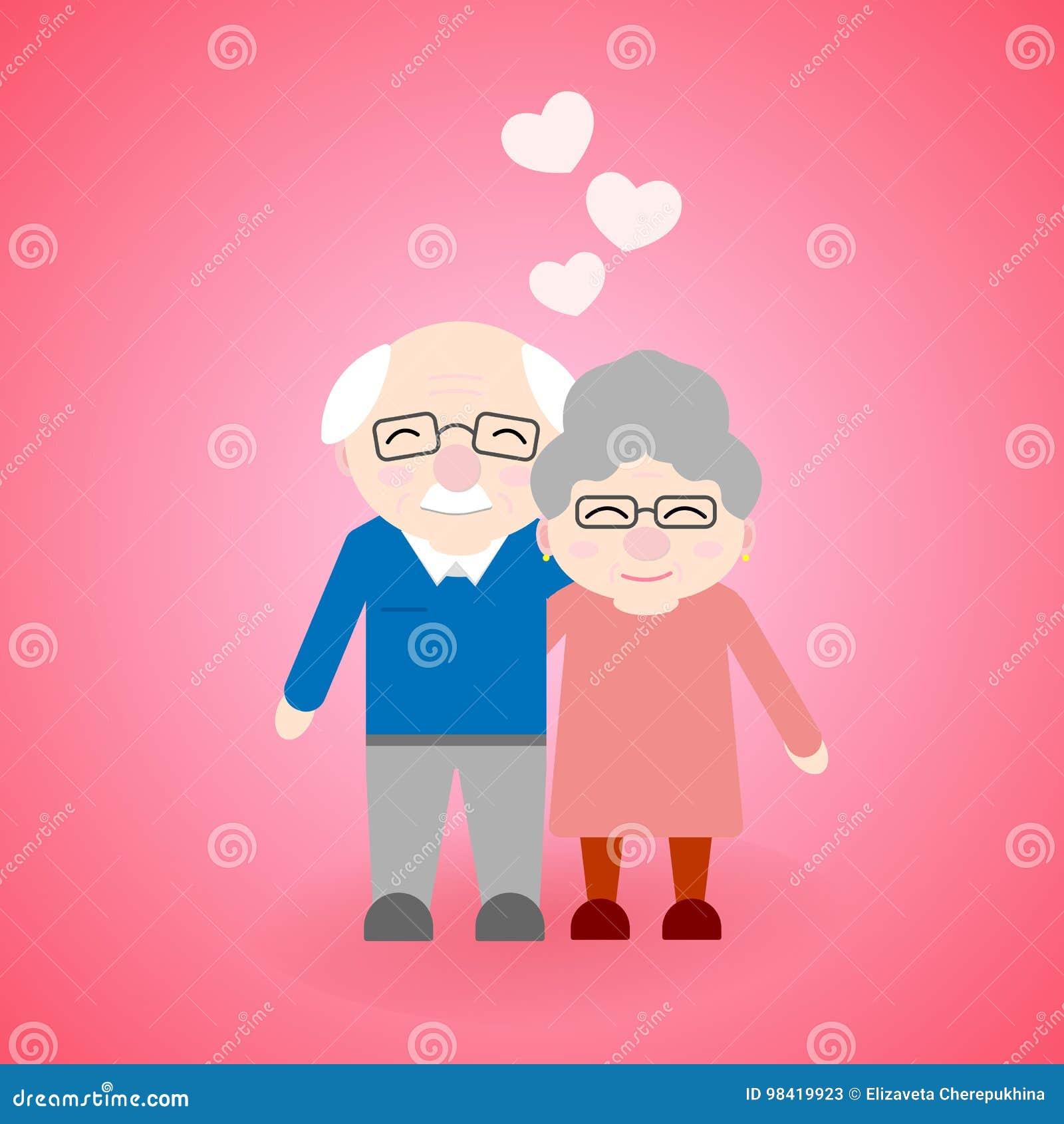 Cute walking grandparents. Happy Grandparent`s day