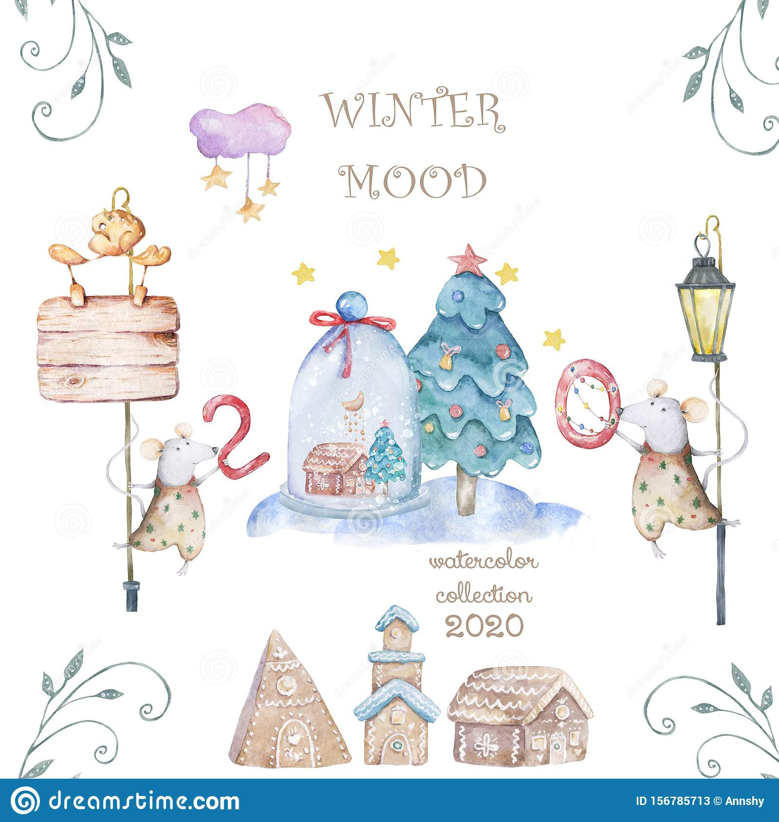 Cute watercolor cartoon rats and spruce tree. Watercolor hand drawn animals illustration. New Year 2020 holiday drawing