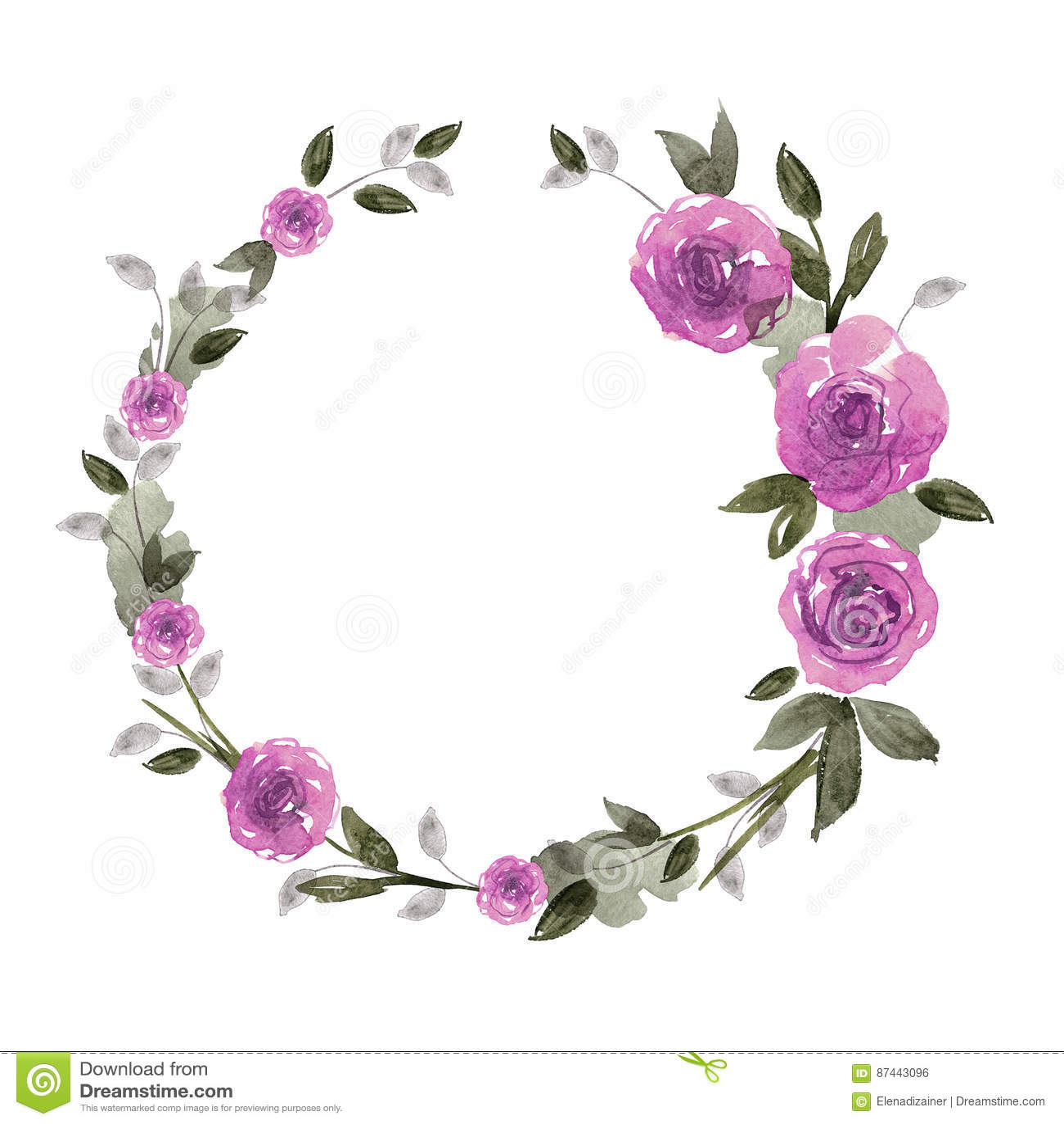 Purple Rose Frame Cute Watercolor Flower...