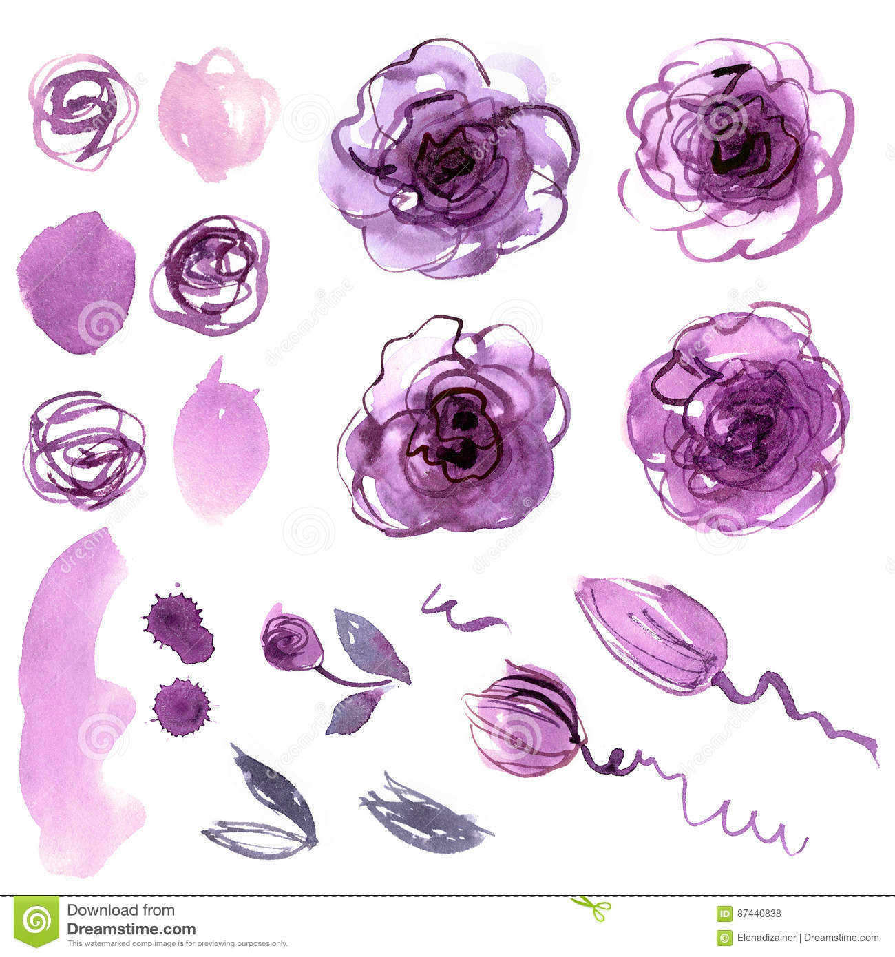 Cute watercolor hand painted flower elements.