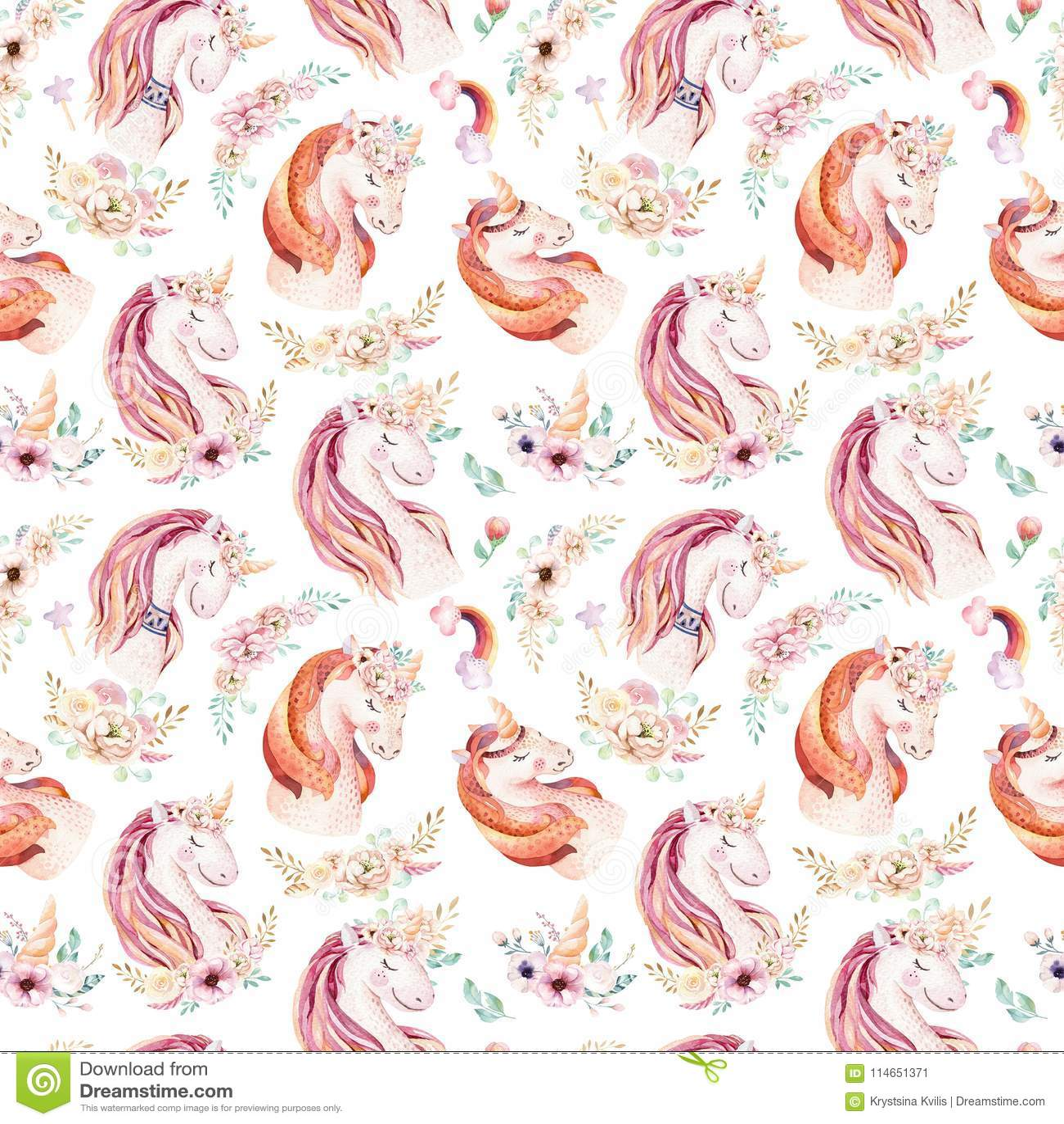 Cute watercolor unicorn seamless pattern with flowers. Nursery magic unicorn patterns. Princess rainbow texture. Trendy