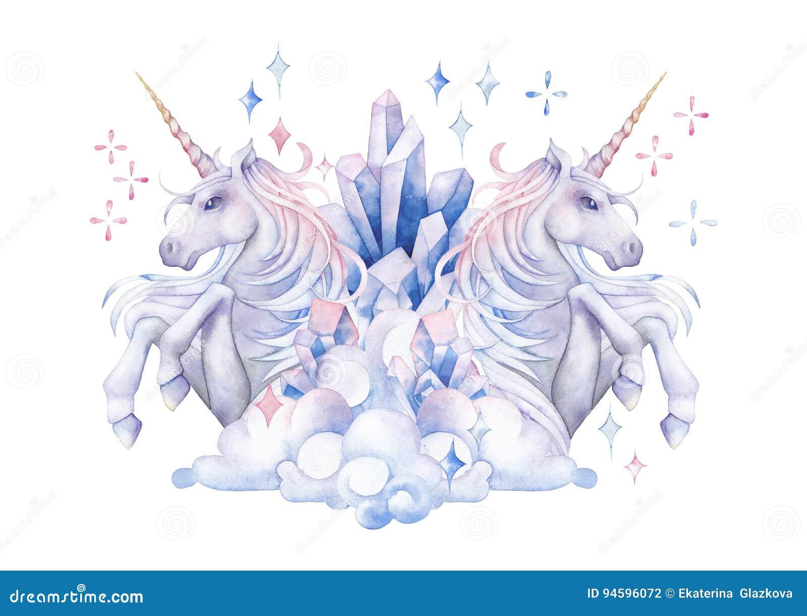 Cute Watercolor Unicorn Stock Illustration Image Of
